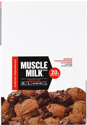 Inc, Muscle Milk Red Bar, Fudge Brownie, 12 Bars, 2.22 oz (63 g) Each by Cytosport, 運動,補品,蛋白質 HK 香港