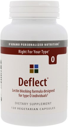 Deflect, Lectin Blocking Formula, The Blood Type Diet 0, 120 Veggie Caps by Dadamo, 健康,dadamo個性化營養血型,飲食 HK 香港