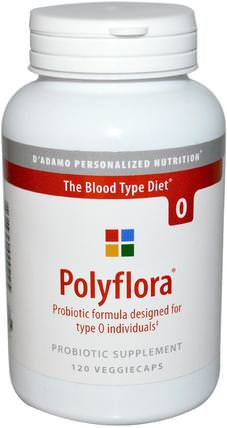 Polyflora, Probiotic Formula for Blood Type Diet 0, 120 Veggie Caps by Dadamo, 補充劑,益生菌,dadamo個性化營養血型,穩定益生菌 HK 香港