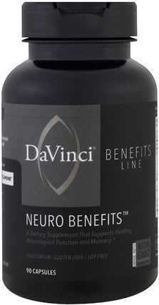 Neuro Benefits, 90 Capsules by DaVinci Benefits, 健康,注意力缺陷障礙,添加,adhd,腦 HK 香港