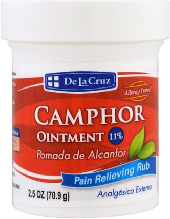Camphor Ointment, Pain Relieving Rub, 2.5 oz (70.9 g) by De La Cruz, 健康,關節炎 HK 香港