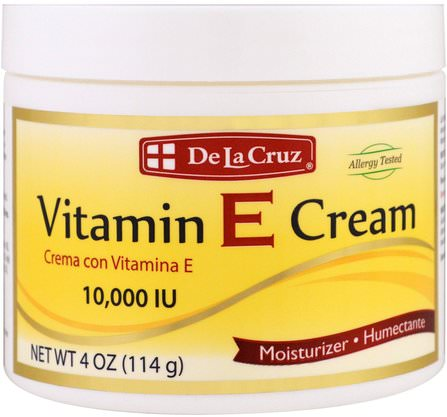 Vitamin E Cream, 10.000 IU, 4 oz (114 g) by De La Cruz, 美容,面部護理,面霜,乳液 HK 香港