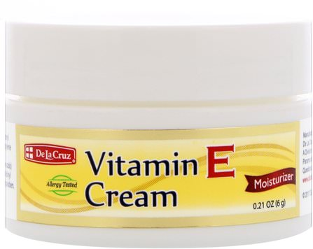 Vitamin E Cream, Moisturizer, 0.21 oz (6 g) by De La Cruz, 健康,皮膚,維生素E油霜,美容,面部護理 HK 香港