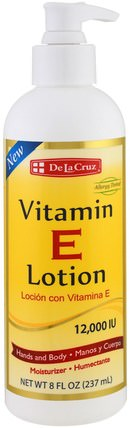 Vitamin E Lotion, 12.000 IU, 8 fl oz (237 ml) by De La Cruz, 美容,面部護理,沐浴 HK 香港