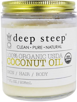 100% Organic USDA, Coconut Oil, 7 fl oz (208 ml) by Deep Steep, 沐浴,美容,椰子油皮 HK 香港