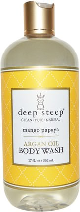 Argan Oil Body Wash, Mango Papaya, 17 fl oz (502 ml) by Deep Steep, 沐浴,美容,摩洛哥堅果乳液和黃油,沐浴露 HK 香港