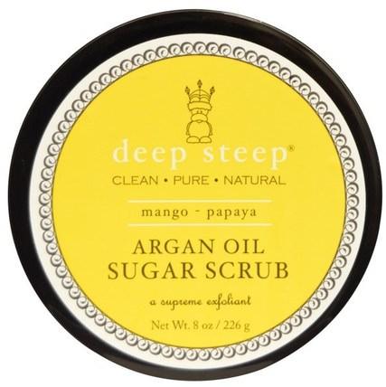 Deep Steep, Argan Oil Sugar Scrub, Mango - Papaya, 8 oz (226 g) 洗澡,美容,身體磨砂,摩洛哥堅果浴