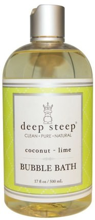 Bubble Bath, Coconut Lime, 17 fl oz (503 ml) by Deep Steep, 洗澡,美容,泡泡浴 HK 香港
