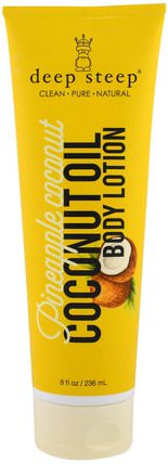 Coconut Oil Body Lotion, Pineapple Coconut, 8 fl oz (236 ml) by Deep Steep, 沐浴,美容,椰子油皮,潤膚露 HK 香港