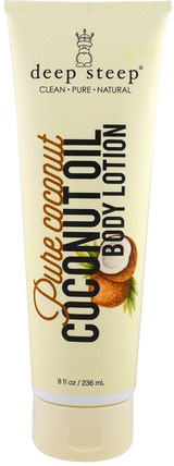Coconut Oil Body Lotion, Pure Coconut, 8 fl oz (236 ml) by Deep Steep, 沐浴,美容,椰子油皮,潤膚露 HK 香港
