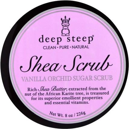 Shea Scrub Vanilla Orchid Sugar Scrub, 8 oz (226 g) by Deep Steep, 洗澡,美容,身體磨砂 HK 香港