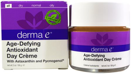 Age-Defying Antioxidant Day Creme, 2 oz (56 g) by Derma E, 美容,抗衰老,面部護理,面霜,乳液,皺紋霜 HK 香港