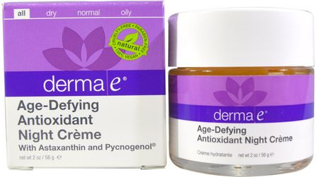 Age-Defying Night Creme, 2 oz (56 g) by Derma E, 美容,抗衰老,面部護理,面霜,乳液,皺紋霜 HK 香港