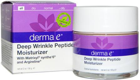 Deep Wrinkle Peptide Moisturizer with Matrixyl Synthe6 and Argireline, 2 oz (56 g) by Derma E, 美容,抗衰老,面部護理,面霜,乳液,皺紋霜 HK 香港