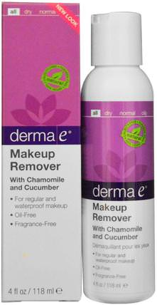Makeup Remover with Chamomile and Cucumber, 4 fl oz (118 ml) by Derma E, 美容,面部護理,洗面奶,沐浴,卸妝 HK 香港