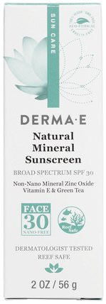 Natural Mineral Sunscreen, Sun Care, SPF 30, 2 oz (56 g) by Derma E, 洗澡,美容,防曬霜,spf 30-45 HK 香港