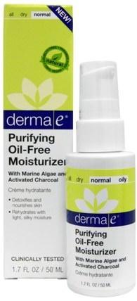 Derma E, Purifying Oil-Free Moisturizer, 1.7 fl oz (50 ml) 美容,面部護理,面霜乳液,精華素,皮膚類型正常至乾性皮膚