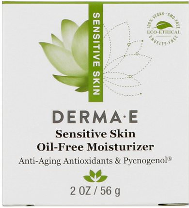 Sensitive Skin Oil-Free Moisturizer, 2 oz (56 g) by Derma E, 補充劑,碧蘿芷,面部護理,面霜,乳液 HK 香港