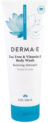 Tea Tree & Vitamin E Body Wash, 8 fl oz (236 ml) by Derma E, 美容,面部護理,洗面奶,沐浴露,沐浴露 HK 香港