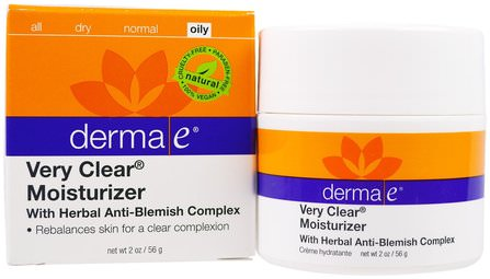 Very Clear Moisturizer, Anti-Blemish Complex, 2 oz (56 g) by Derma E, 美容,面部護理,面霜,乳液,健康,粉刺,皮膚類型的粉刺容易皮膚 HK 香港