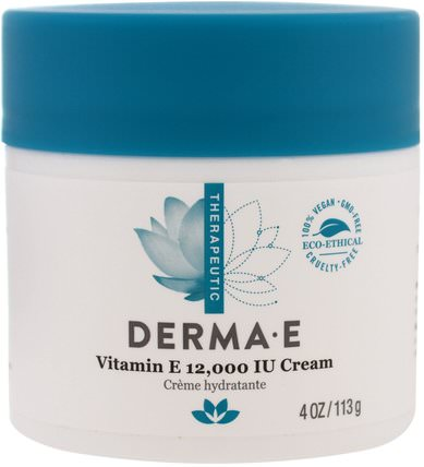 Vitamin E 12.000 IU Creme, 4 oz (113 g) by Derma E, 健康,皮膚,維生素E油霜,美容,面部護理,面霜,乳液 HK 香港