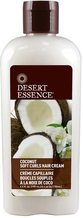 Coconut Soft Curls Hair Cream, 6.4 fl oz (190 ml) by Desert Essence, 洗澡,美容,護髮素,頭髮,頭皮,洗髮水,護髮素 HK 香港