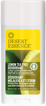 Deodorant, Lemon Tea Tree, 2.5 oz (70 ml) by Desert Essence, 洗澡,美容,除臭劑 HK 香港