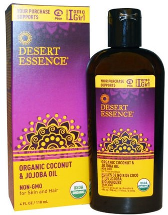 Organic Coconut & Jojoba Oil, 4 fl oz (118 ml) by Desert Essence, 沐浴,美容,椰子油皮,荷荷巴油 HK 香港