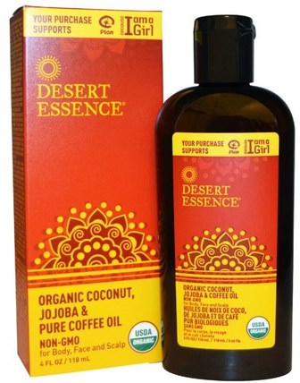 Organic Coconut, Jojoba & Pure Coffee Oil, 4 fl oz (118 ml) by Desert Essence, 健康,皮膚,沐浴,美容油,身體護理油,面部護理油 HK 香港