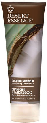 Shampoo, Nourishing for Dry Hair, Coconut, 8 fl oz (237 ml) by Desert Essence, 洗澡,美容,洗髮水,頭髮,頭皮,護髮素 HK 香港