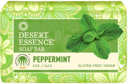 Soap Bar, Peppermint, 5 oz (142 g) by Desert Essence, 洗澡,美容,肥皂,健康,皮膚 HK 香港