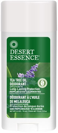 Tea Tree Oil Deodorant with Lavender Oil, 2.5 oz (70 ml) by Desert Essence, 洗澡,美容,除臭劑 HK 香港