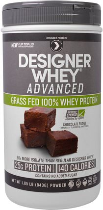 Designer Whey Advanced, Grass Fed 100% Whey Protein, Chocolate Fudge, 1.85 lb (840 g) by Designer Protein, 補充劑,乳清蛋白,運動蛋白 HK 香港