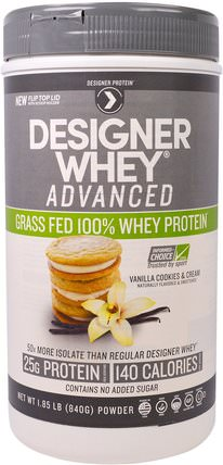 Designer Whey Advanced, Grass Fed 100% Whey Protein, Vanilla Cookies & Cream, 1.85 lb (840 g) by Designer Protein, 補充劑,乳清蛋白,運動蛋白 HK 香港