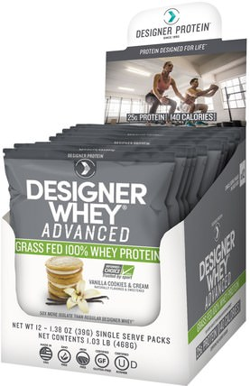 Designer Whey Advanced, Grass Fed 100% Whey Protein, Vanilla Cookies & Cream, 12 Packs, 1.38 oz (39 g) Each by Designer Protein, 補充劑,乳清蛋白奶昔 HK 香港