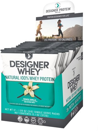 Designer Whey, Natural 100% Whey Protein, French Vanilla, 12 Packs, 1.09 oz (31 g) Each by Designer Protein, 補充劑,乳清蛋白棒 HK 香港