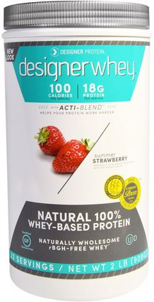 Designer Whey, Natural 100% Whey Protein, Summer Strawberry, 2 lbs (908 g) by Designer Protein, 補充劑,乳清蛋白 HK 香港