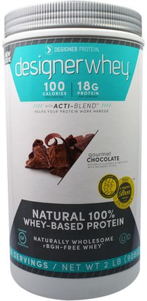 Designer Whey, with Acti-Blend, Gourmet Chocolate, 2 lbs (908 g) by Designer Protein, 補充劑,乳清蛋白,運動蛋白 HK 香港