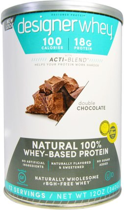 Designer Whey, With Acti-Blend, Natural 100% Whey-Based Protein, Double Chocolate, 12 oz (340 g) by Designer Protein, 補充劑,乳清蛋白 HK 香港