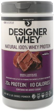 Designer Whey, Natural 100% Whey Protein, Double Chocolate, 2 lbs (908 g) by Designer Protein, 補充劑,乳清蛋白 HK 香港