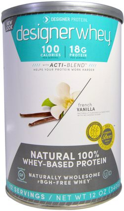 Designer Whey, with Acti-Blend, Natural 100% Whey Based Protein, French Vanilla, 12 oz (340 g) by Designer Protein, 補充劑,乳清蛋白 HK 香港