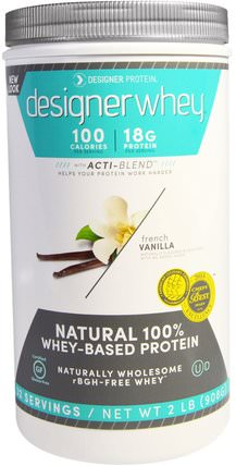 Designer Whey, with Acti-Blend, Natural 100% Whey-Based Protein, French Vanilla, 2 lbs (908 g) by Designer Protein, 補充劑,乳清蛋白 HK 香港