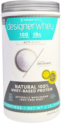 Designer Whey, with Acti-Blend, Unflavored, 2 lbs (908 g) by Designer Protein, 補充劑,乳清蛋白 HK 香港