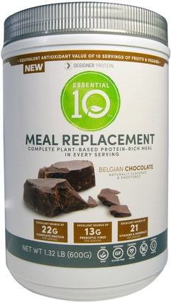 Essential 10, Meal Replacement, Protein-Rich Meal, Belgian Chocolate, 1.32 lbs (600 g) by Designer Protein, 補充劑,蛋白質,代餐奶昔 HK 香港