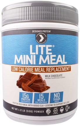 Lite, Mini Meal Low Calorie Meal Replacement Powder, Milk Chocolate, 1.12 lb (510 g) by Designer Protein, 蛋白 HK 香港