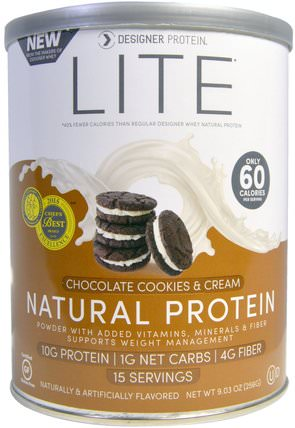 Lite, Natural Protein, Chocolate Cookies & Cream, 9.03 oz (256 g) by Designer Protein, 補充劑,蛋白質 HK 香港