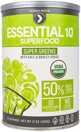Organic Essential 10, Super Greens Superfood with Kale & Barley Grass, 12 oz (340 g) by Designer Protein, 蛋白 HK 香港
