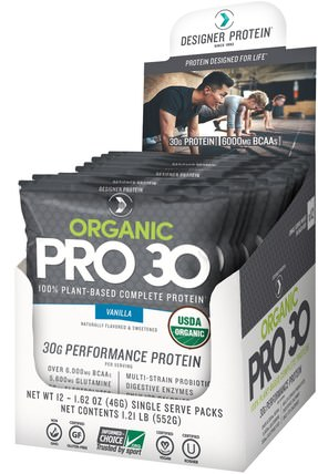 Organic Pro 30, Vanilla, 12 Packs, 1.62 oz (46 g) Each by Designer Protein, 補充劑,乳清蛋白奶昔 HK 香港