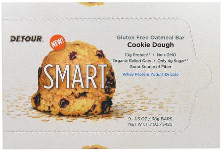 Detour, Gluten Free Oatmeal Bar, Cookie Dough, 9 Bars, 1.3 oz (38 g) Each 運動,蛋白質棒