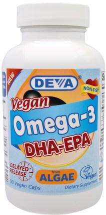 Deva, Vegan, Omega-3, DHA-EPA, 200 mg, 90 Vegan Caps 補充劑,efa omega 3 6 9(epa dha),dha,epa